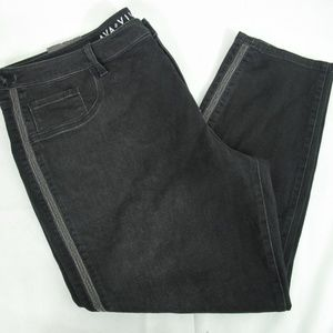 Ava & Viv Skinny Black Jegging  silver strip 24W